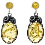 925 Sterling Silver & Baltic Amber Large Drop Earrings - 5405