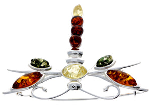 925 Sterling Silver & Baltic Amber Dragonfly Butterfly Brooch