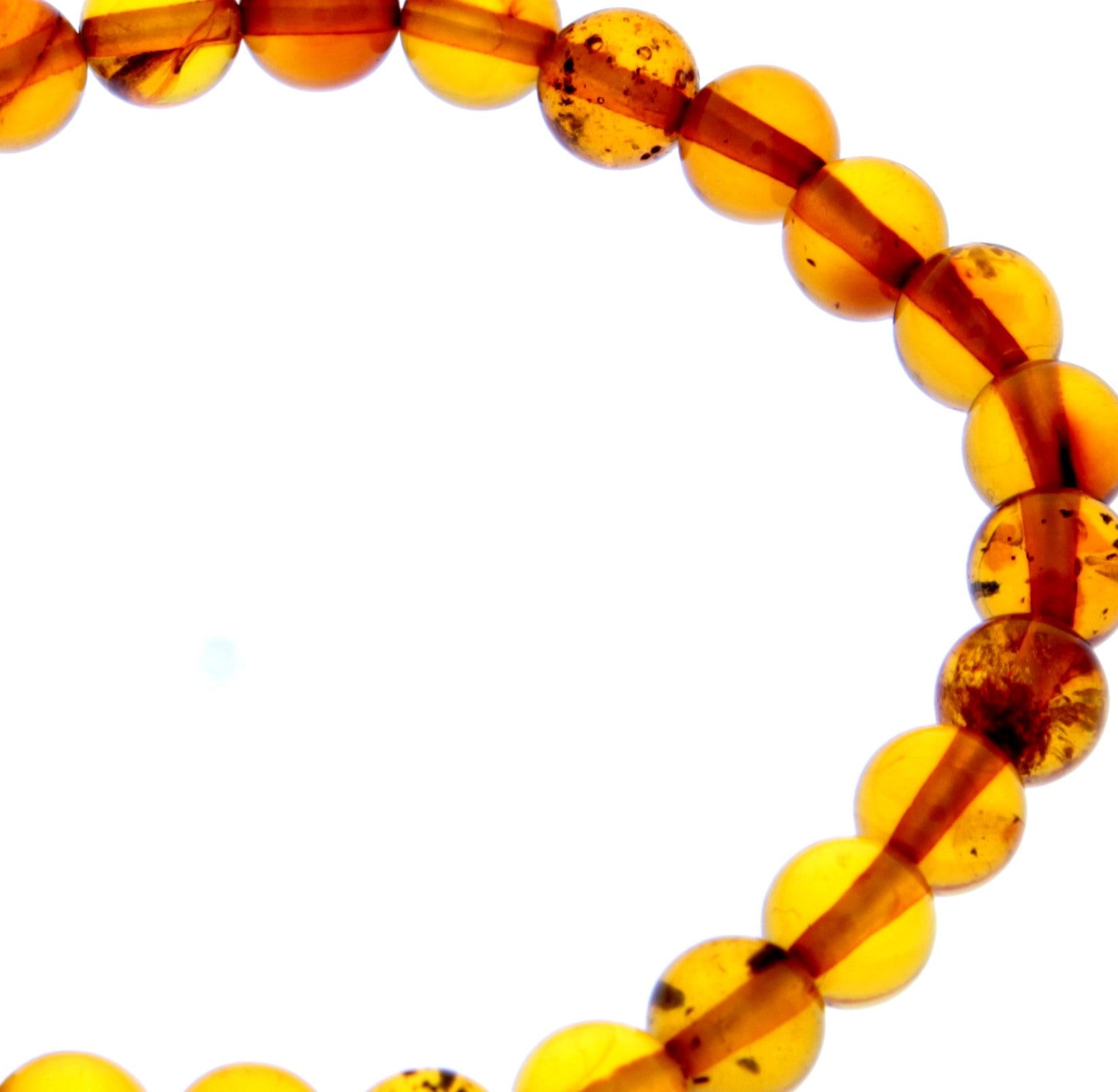 Genuine Baltic Amber Elastic Bracelet for Women - Perfect balls 7-8 mm - BT0169