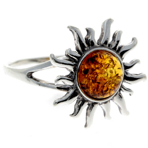 925 Sterling Silver & Baltic Amber Sun / Star Ring - 7374