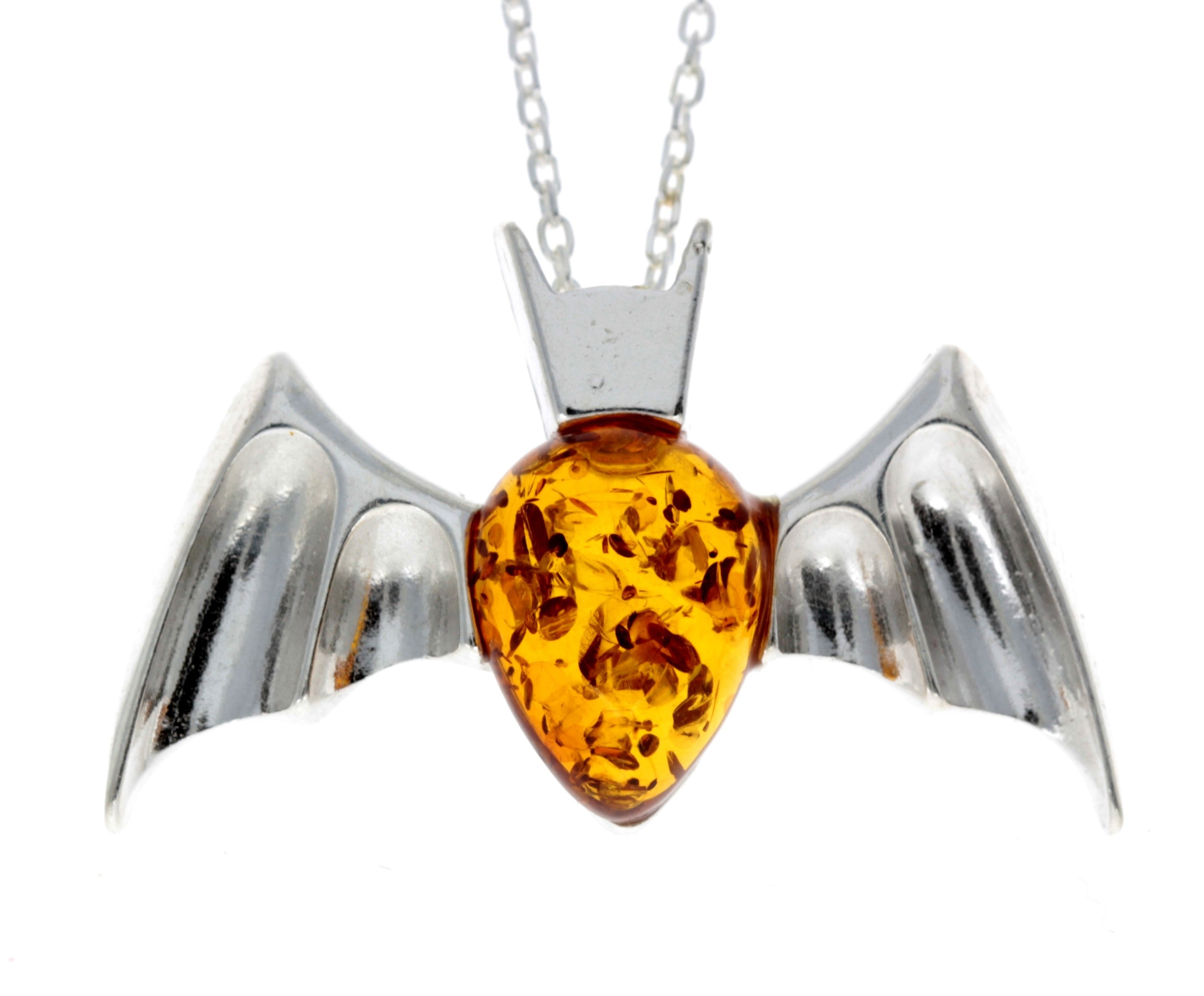 925 Sterling Silver & Baltic Amber Bat Pendant - 692