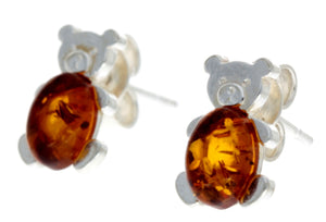 925 Sterling Silver & Amber Tiny Bears Studs - 8482