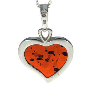 925 Sterling Silver & Baltic Amber Classic Heart Engraved Pendant - AD200