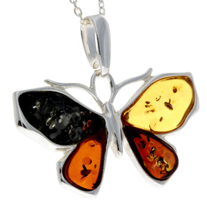 925 Sterling Silver & Baltic Amber Butterfly Pendant - AD217