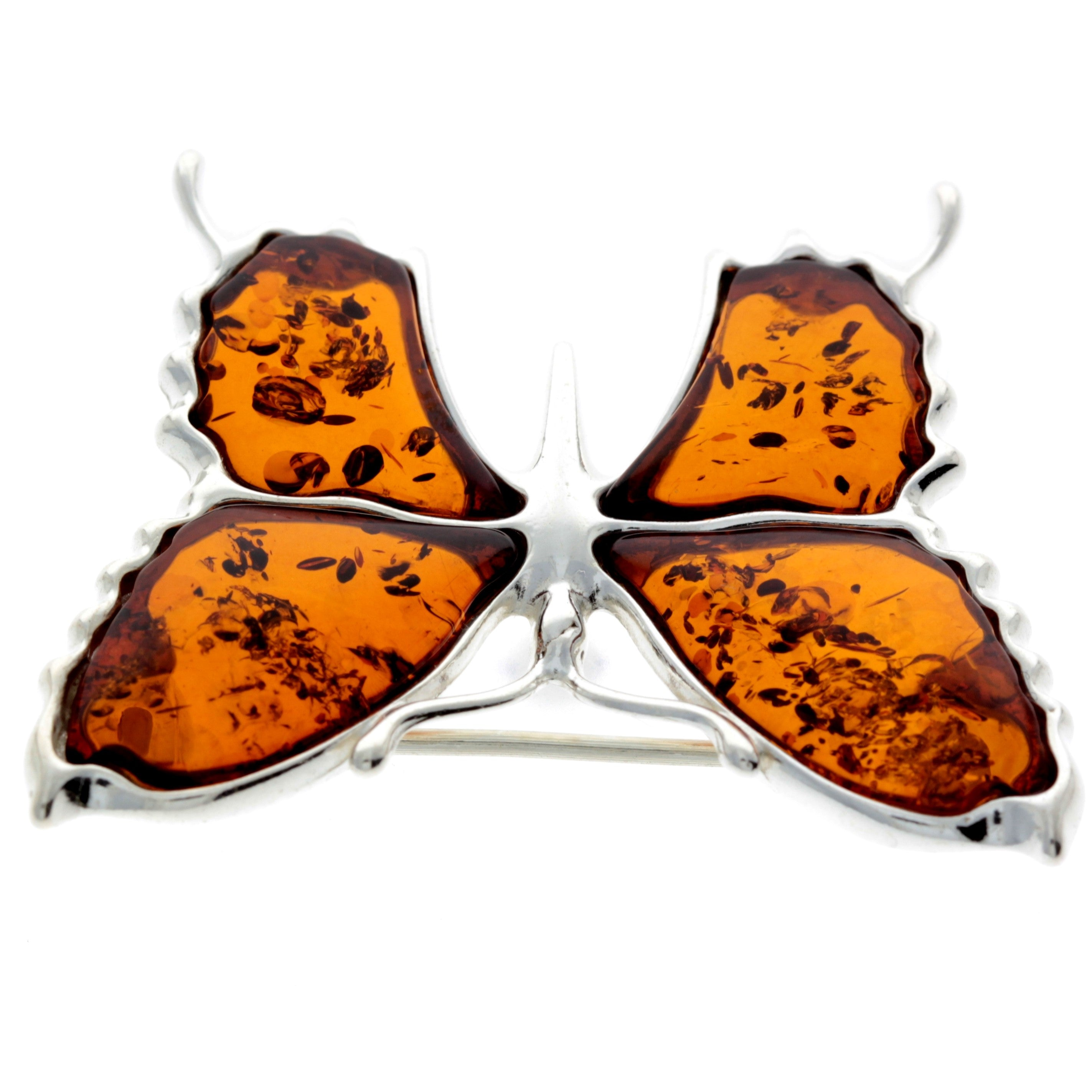 925 Sterling Silver & Baltic Amber Exclusive Large Butterfly Brooch - AD800