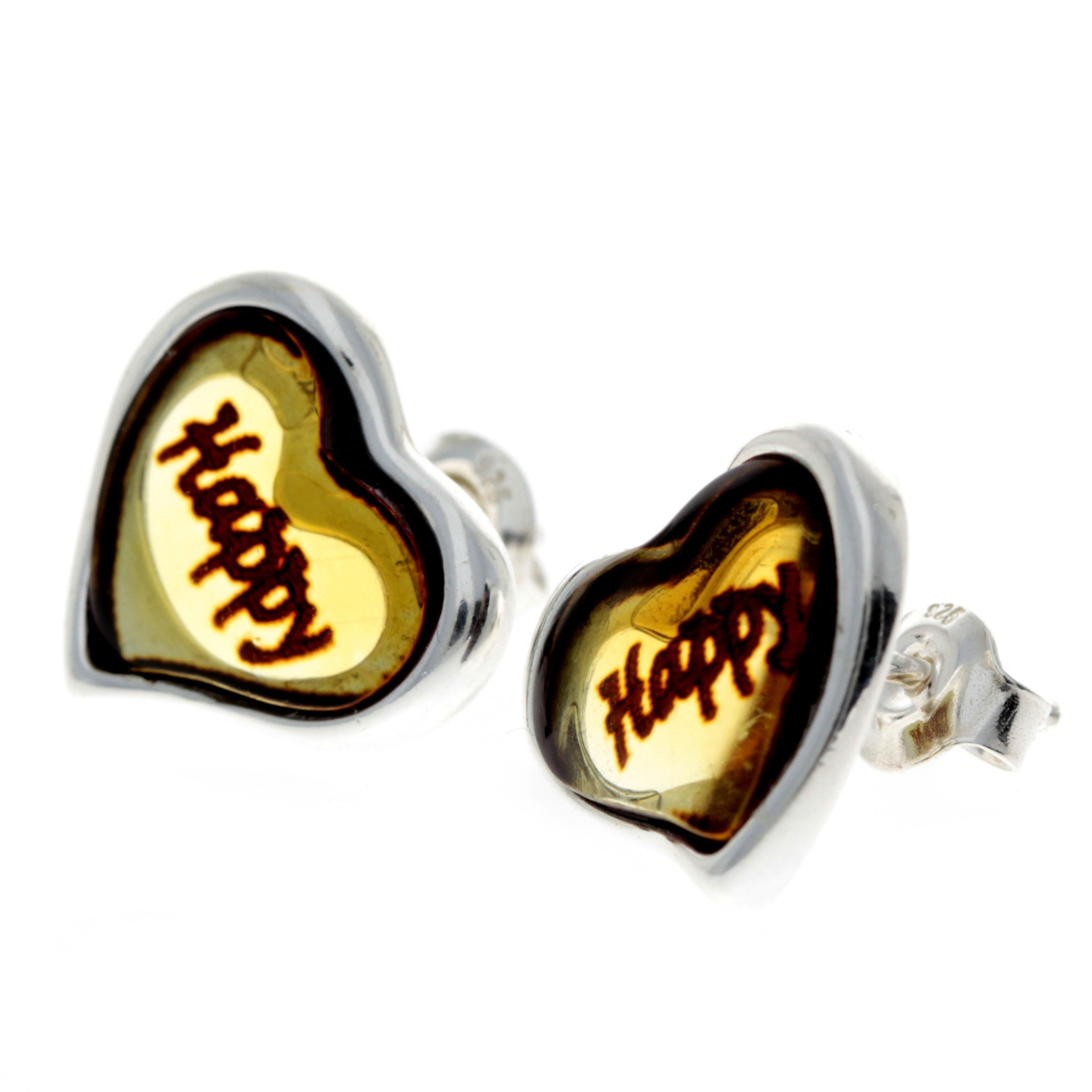 925 Sterling Silver & Baltic Amber Classic Heart Engraved Heart Studs Earrings - AC004