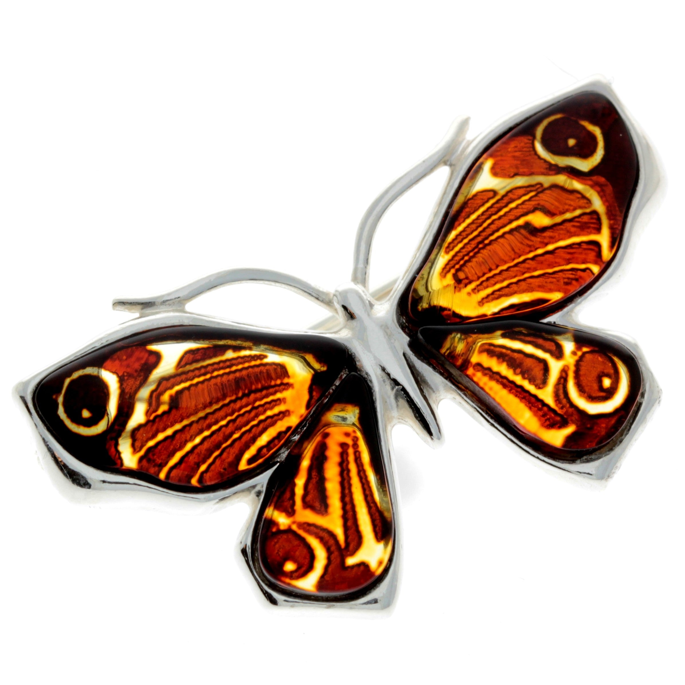 925 Sterling Silver & Baltic Amber Butterfly Engraved Brooch - AC800