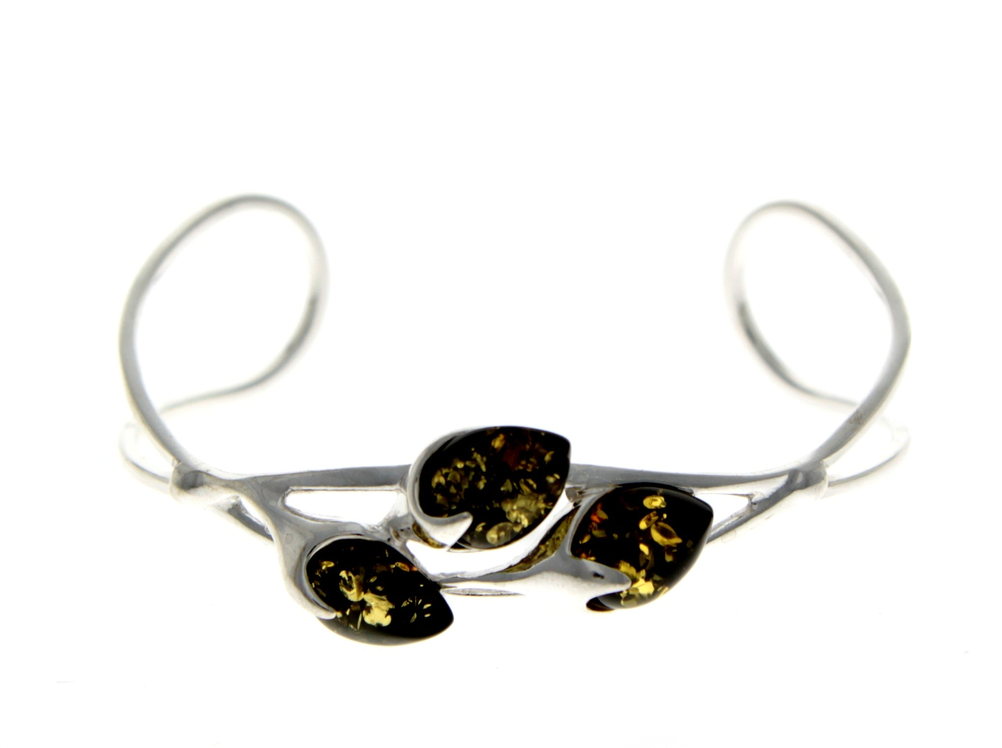 Beautiful Designer Silver Bracelet set with Baltic Amber - BL0054 - SilverAmberJewellery