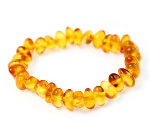 Certified Baltic Amber Baroque Beads Bracelet Elasticated - Sizes Baby to Adult - SilverAmberJewellery