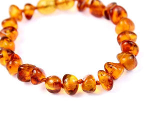 Beautiful Baroque Bracelets & Anklets in Cognac colour - Sizes Baby to Adults - SilverAmberJewellery