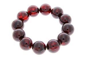 Exclusive perfect ball Genuine Baltic Amber Bracelet - BT0119 - SilverAmberJewellery