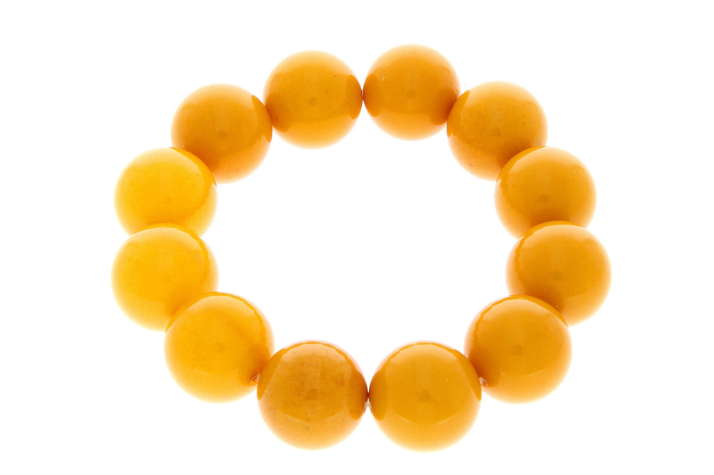Exclusive perfect ball Genuine Baltic Amber Bracelet - BT0122 - SilverAmberJewellery