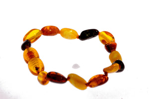 Certified Baltic Amber Beans Beads Bracelet in Mixed Colours - Sizes Baby to Adult - SilverAmberJewellery