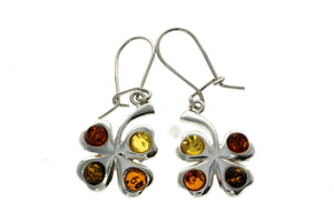 925 Sterling Silver & Baltic Amber Lucky Clover Drop Earrings G011