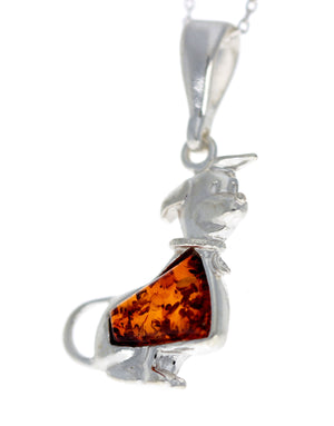 925 Sterling Silver Dog with Baltic Amber - G224