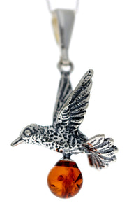 925 Sterling Silver Bird with Baltic Amber Ball - G227