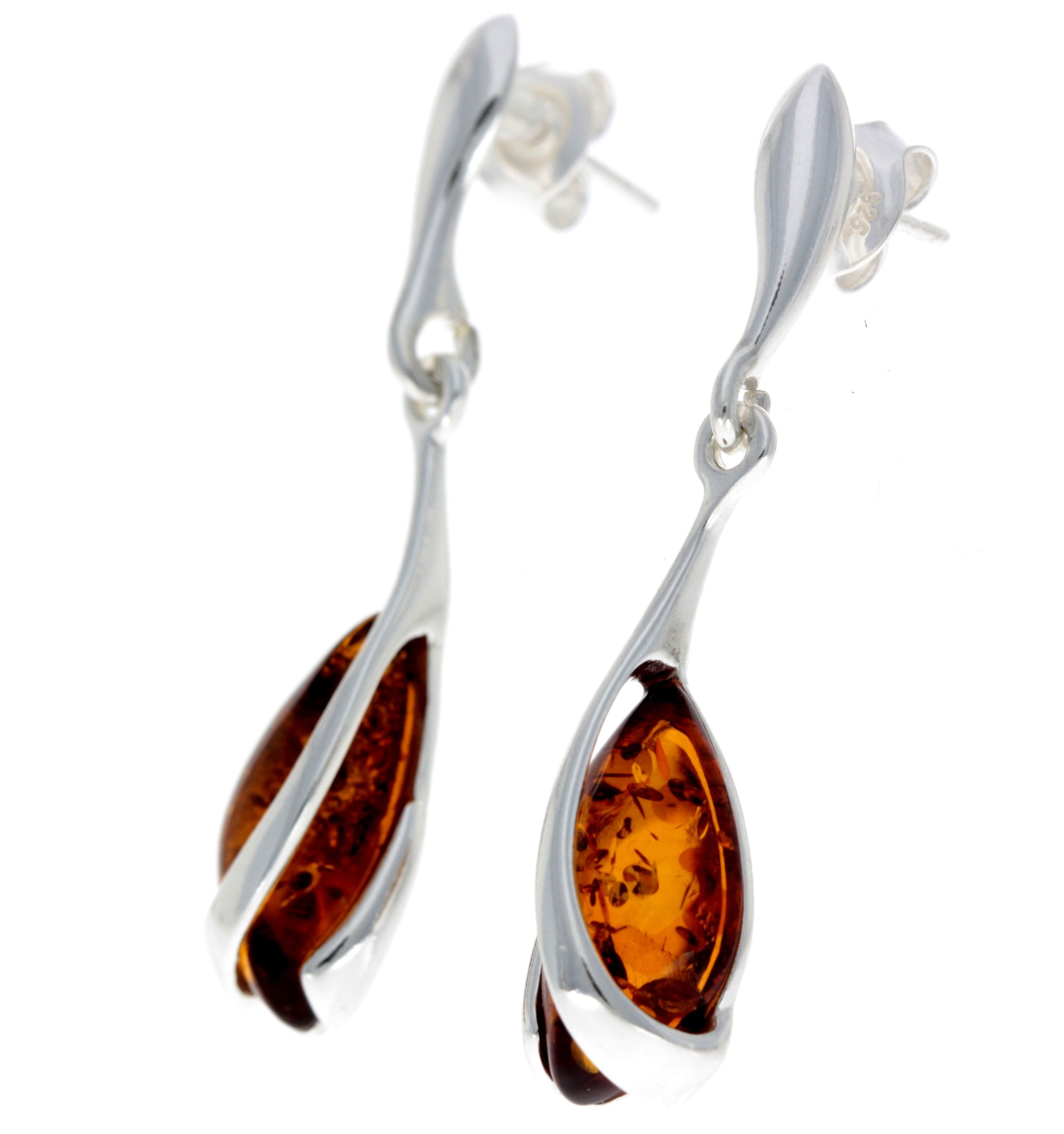 Designer Drop Earrings - SilverAmberJewellery