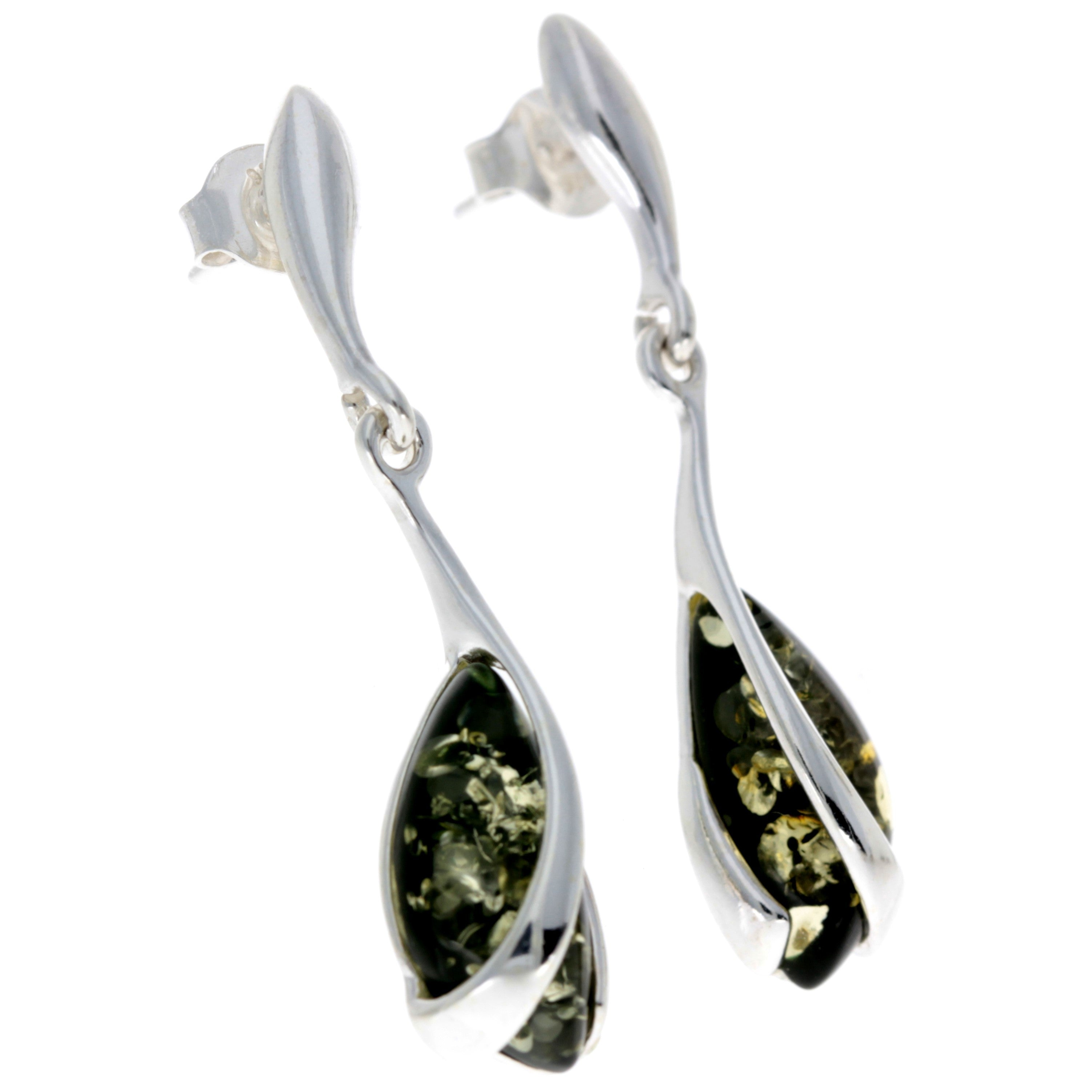 Sterling Silver with Amber Modern Drop Earrings - GL069B