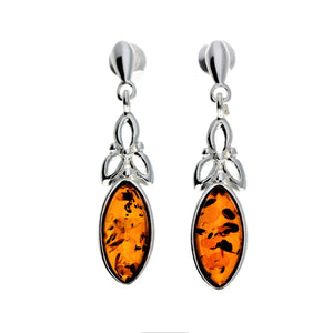 925 Sterling Silver & Baltic Amber Celtic Drop Earrings - GL143