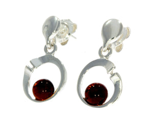 925 Sterling Silver & Baltic Amber Modern Drop Earrings GL147