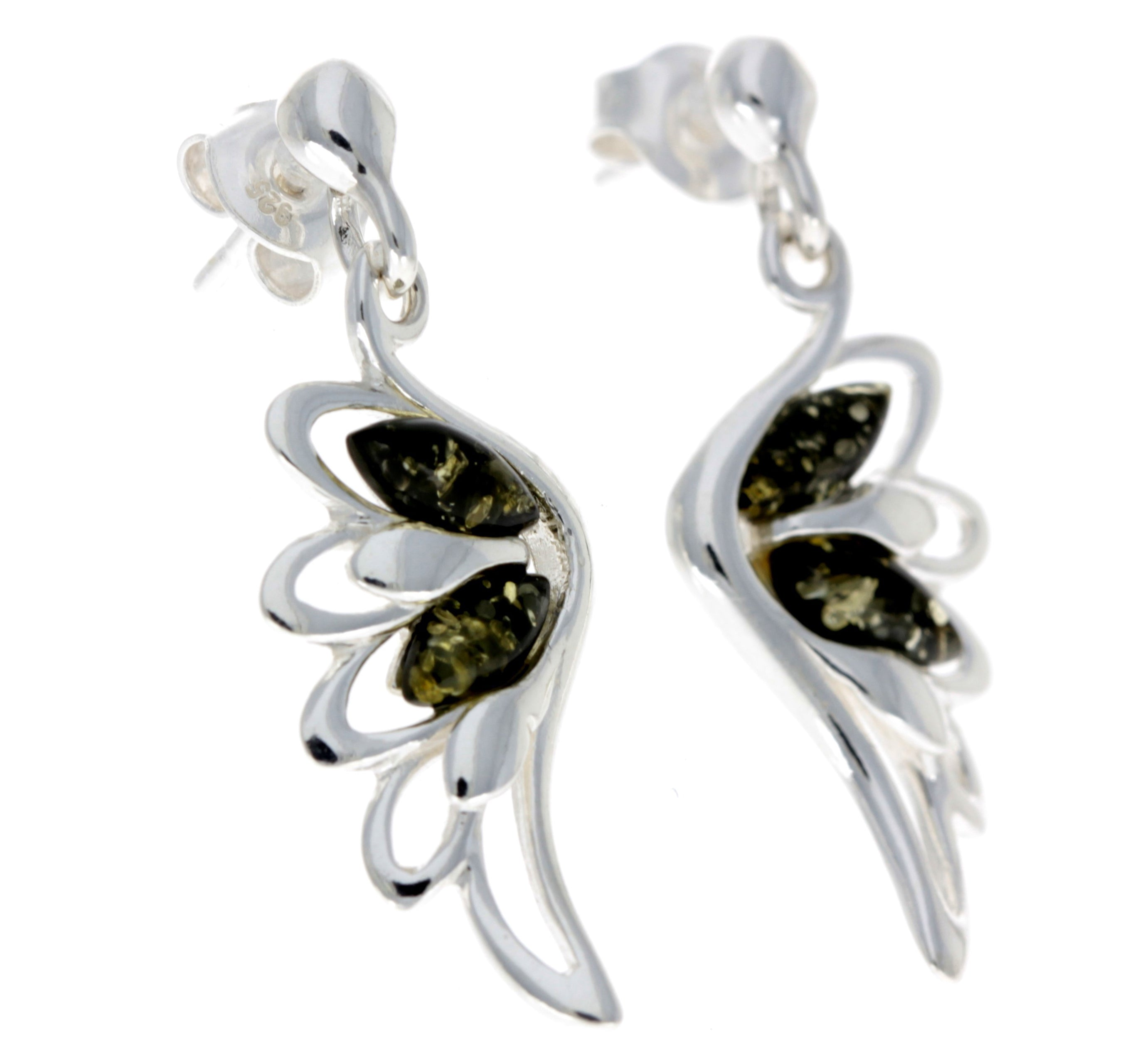 925 Sterling Silver & Baltic Amber Angel Wings Drop Earrings GL148