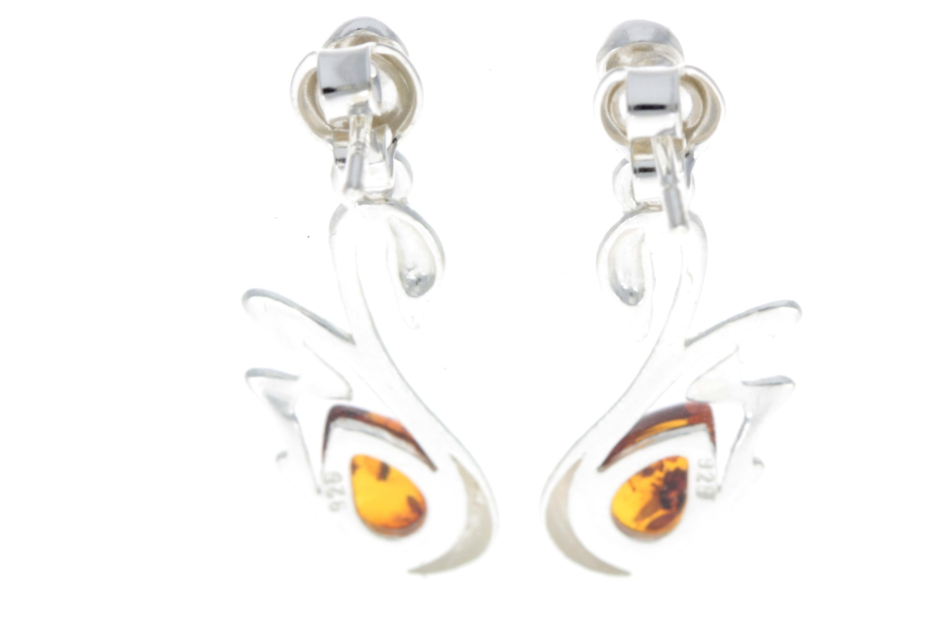 925 Sterling Silver & Baltic Amber Swan Stud Earrings GL149