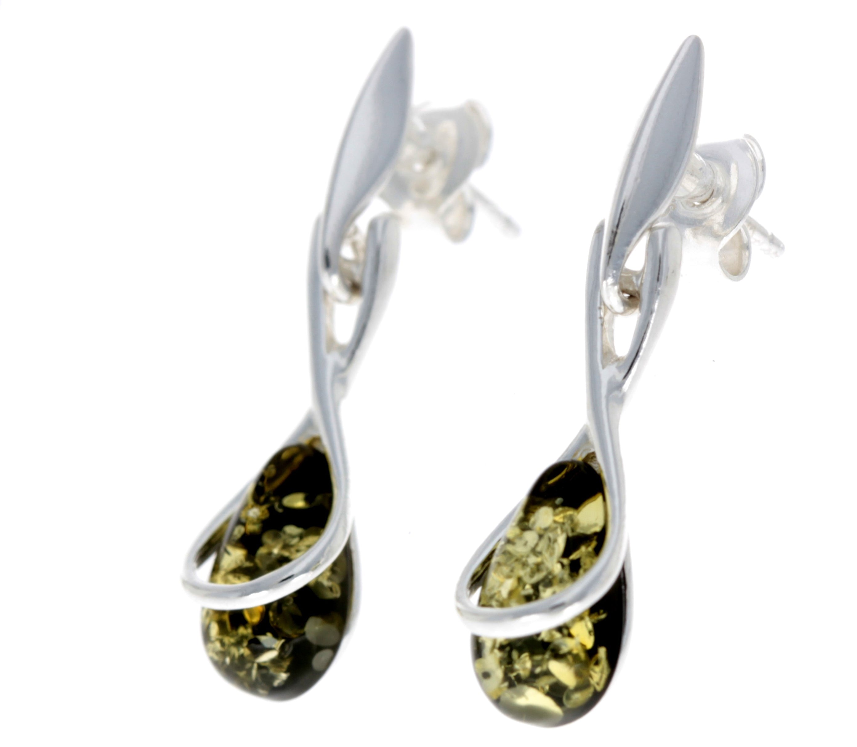 925 Sterling Silver with Amber Modern Drop Earrings - GL151