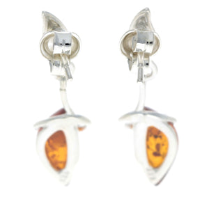 925 Sterling Silver & Baltic Amber Art Deco Earrings - GL158