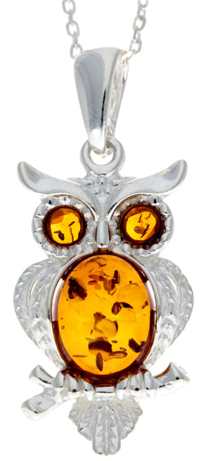925 Sterling Silver & Baltic Amber Wise Owl Pendant - GL359