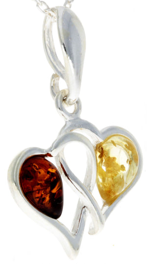 925 Sterling Silver & Baltic Amber Double Hearts Pendant - GL360