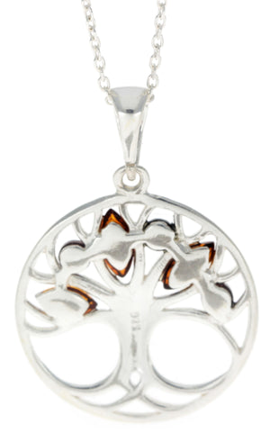 925 Sterling Silver Tree of Life with Baltic Amber - GL363