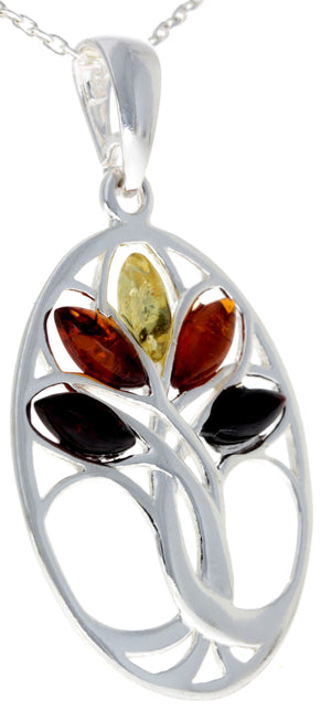 925 Sterling Silver & Baltic Amber Tree of Life Oval Pendant - GL364