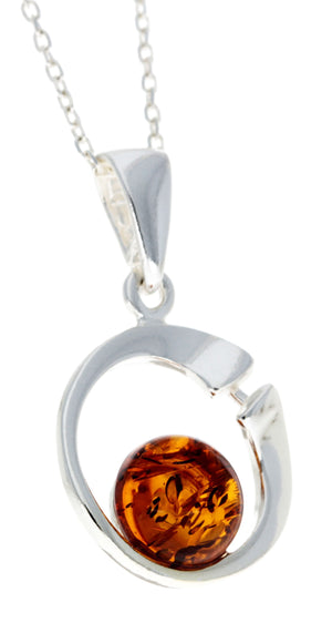 925 Sterling Silver Modern Pendant with Baltic Amber - GL382