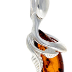 925 Sterling Silver & Baltic Amber Art Deco Pendant - GL391