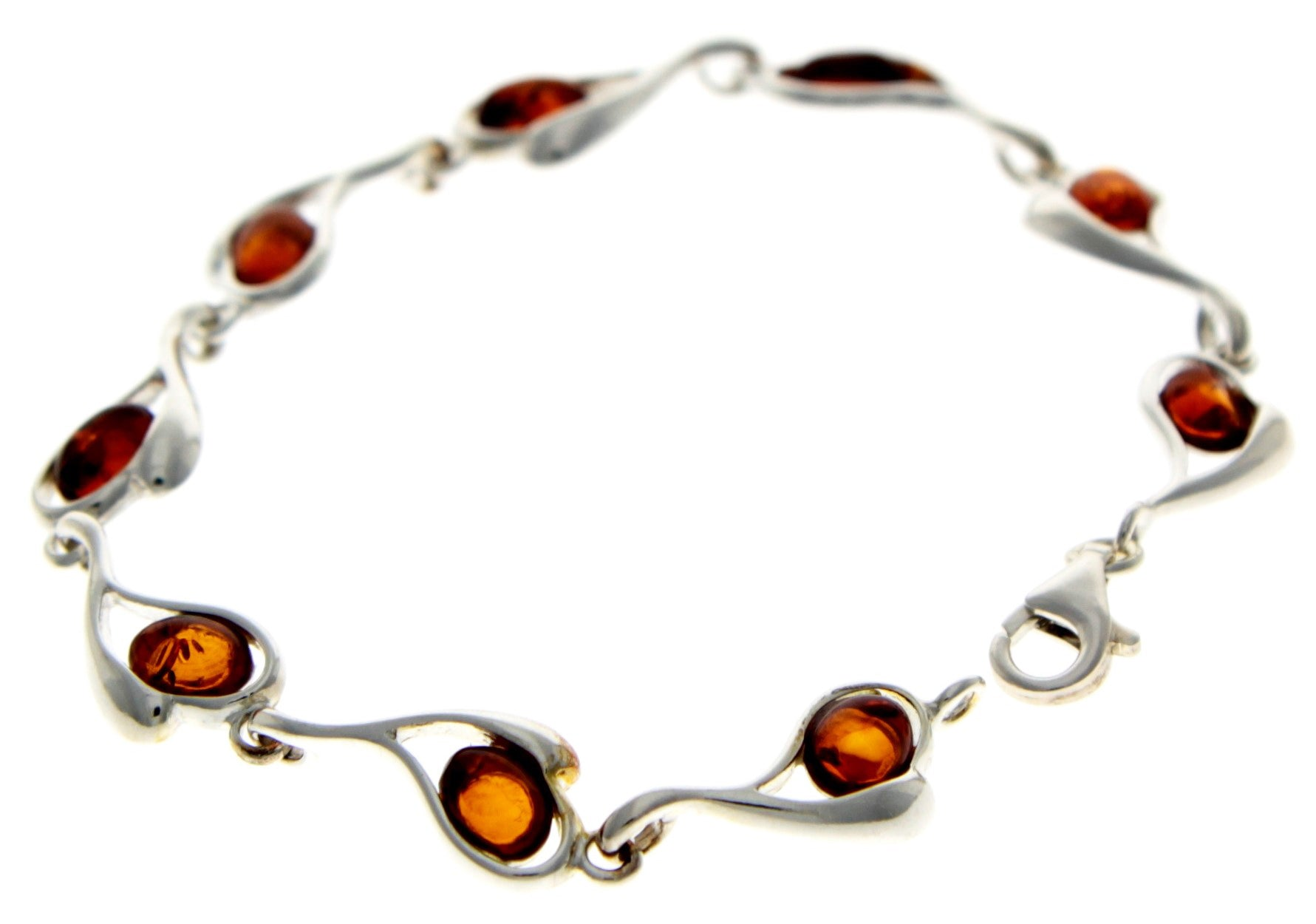 Beautiful Designer Silver Bracelet set with Baltic Amber - GL529 - SilverAmberJewellery