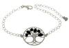 Tree of Life Adjustable Silver Bracelet with Amber - GL535