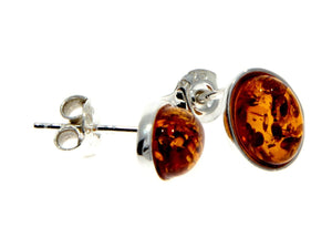 Designer Silver & Amber Stud Earrings in Cognac - SilverAmberJewellery