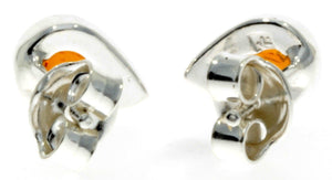 Designer Silver & Amber Stud Earrings Little Pears - SilverAmberJewellery