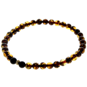 Genuine Baltic Amber Elastic Bracelet for Man - MB003