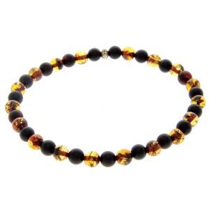 Genuine Baltic Amber Elastic Bracelet for Men - MB003