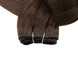 Weft Bundles Brazilian Human Hair Sew in Hair Extensions 14inch 70g Color 2 Darkest Brown Straight Remy Weft Hair Extensions Visit the feelmorelikeuhair.com  Store