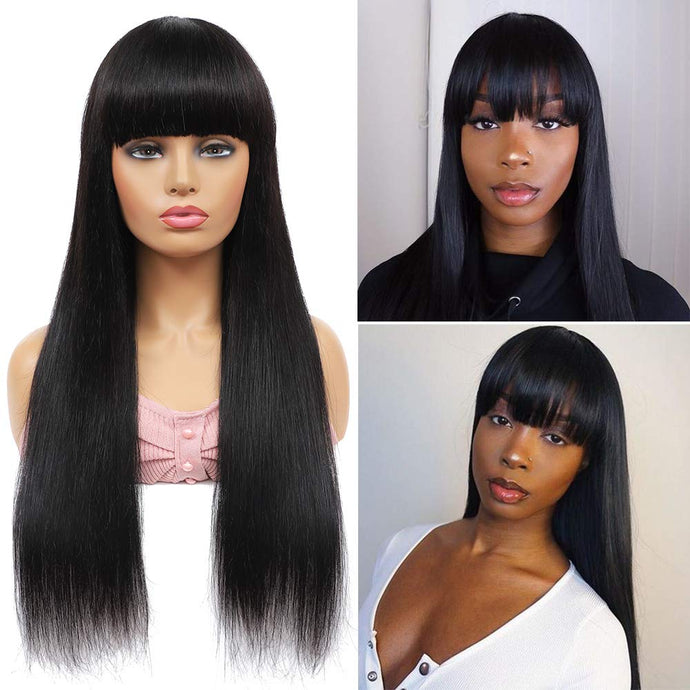 Straight Human Hair Wigs with Bangs (14inch-26inch) None Lace Front Wigs Human Hair for Black Women 150% Density Glueless Machine Custom Made Brazilian Remy Hair Wigs Natural Black