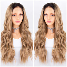Load image into Gallery viewer, Blonde Ombre Lace Front Wig 2 Tones Long Wavy Wigs for Women Glueless Synthetic Hair Replacement Wigs Heat Resistant 22 Inches