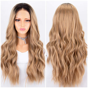 Blonde Ombre Lace Front Wig 2 Tones Long Wavy Wigs for Women Glueless Synthetic Hair Replacement Wigs Heat Resistant 22 Inches