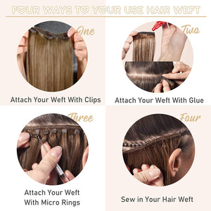Remy Hair Weft Bundles Brazilian Human Hair +Add My Professional Sew in Hair Extensions Application Salon Service