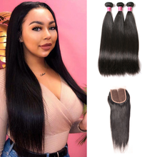 Load image into Gallery viewer, Brazilian Straight Virgin Hair 3 Bundles With Closure Free Part (14 16 18 with 14inch)