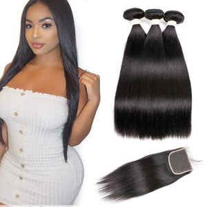 Brazilian Straight Virgin Hair 3 Bundles With Closure Free Part (14 16 18 with 14inch) custom-wigs-extensions-toupee-hair-pieces-hair-solutions
