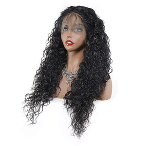 Human Hair Blend Lace Frontal Custom Hand-Tied Hair System Wig with Baby Hair - Loose Curly