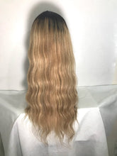 Load image into Gallery viewer, 20 Inch Blonde wig with dark shadow Roots Ombre Balayage Hair Color 1B Fading To 6 and 27 Honey Blonde Highlighted human hair