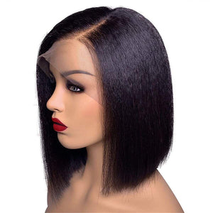 Lace Front Wigs Human Hair Pre plucked Frontal Yaki Straight Human Hair Wig with Baby Hair 10 Inch Short Bob